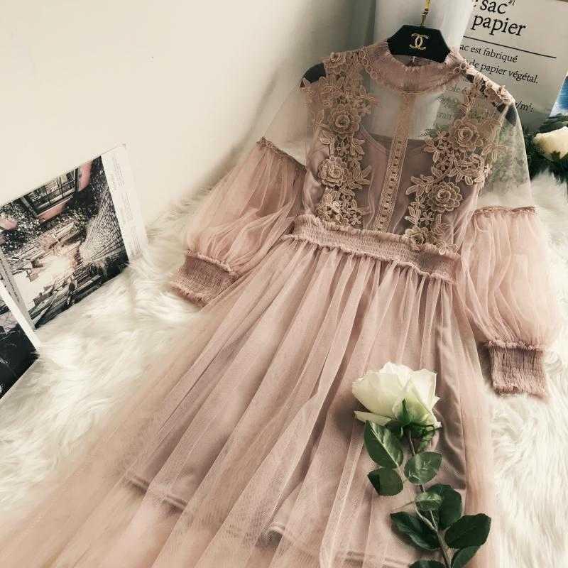 Yeni gelenler kadınlar dantel çiçek elbise uzun tül fener kollu vual uzun elbise kadın Retro kanca prenses elbise 2 parça Set