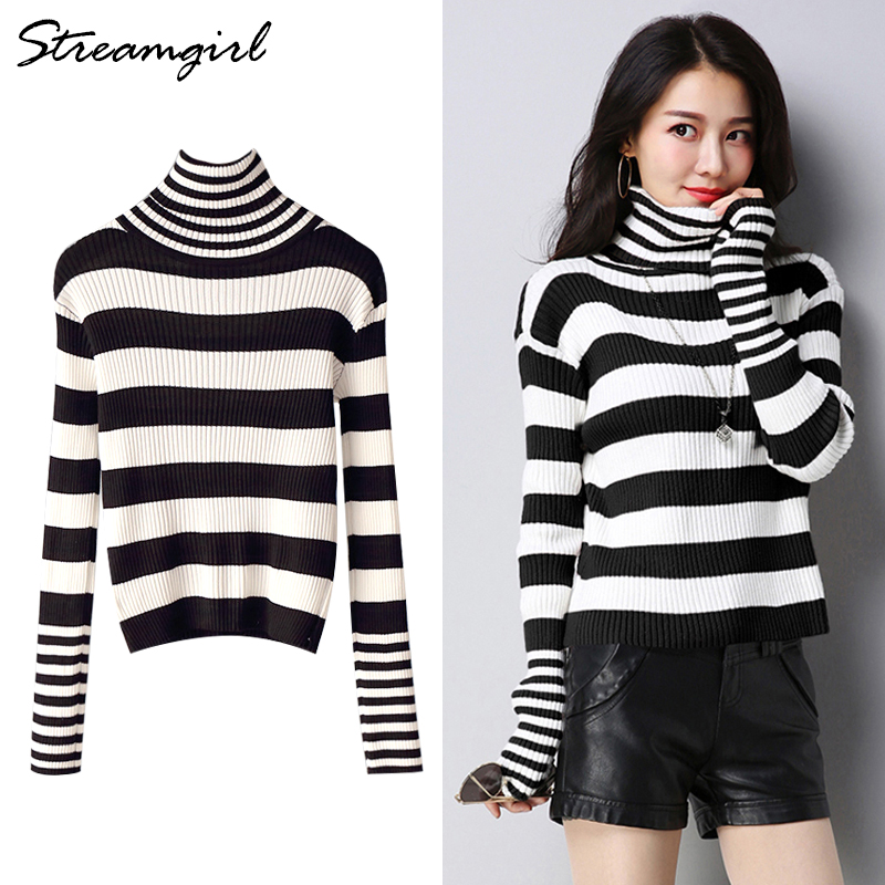 Women Turtleneck Sweater Stripe Autumn Sweaters Fashion 2019 Women Knitted Pullover Black Striped Turtleneck Ribbed Sweater