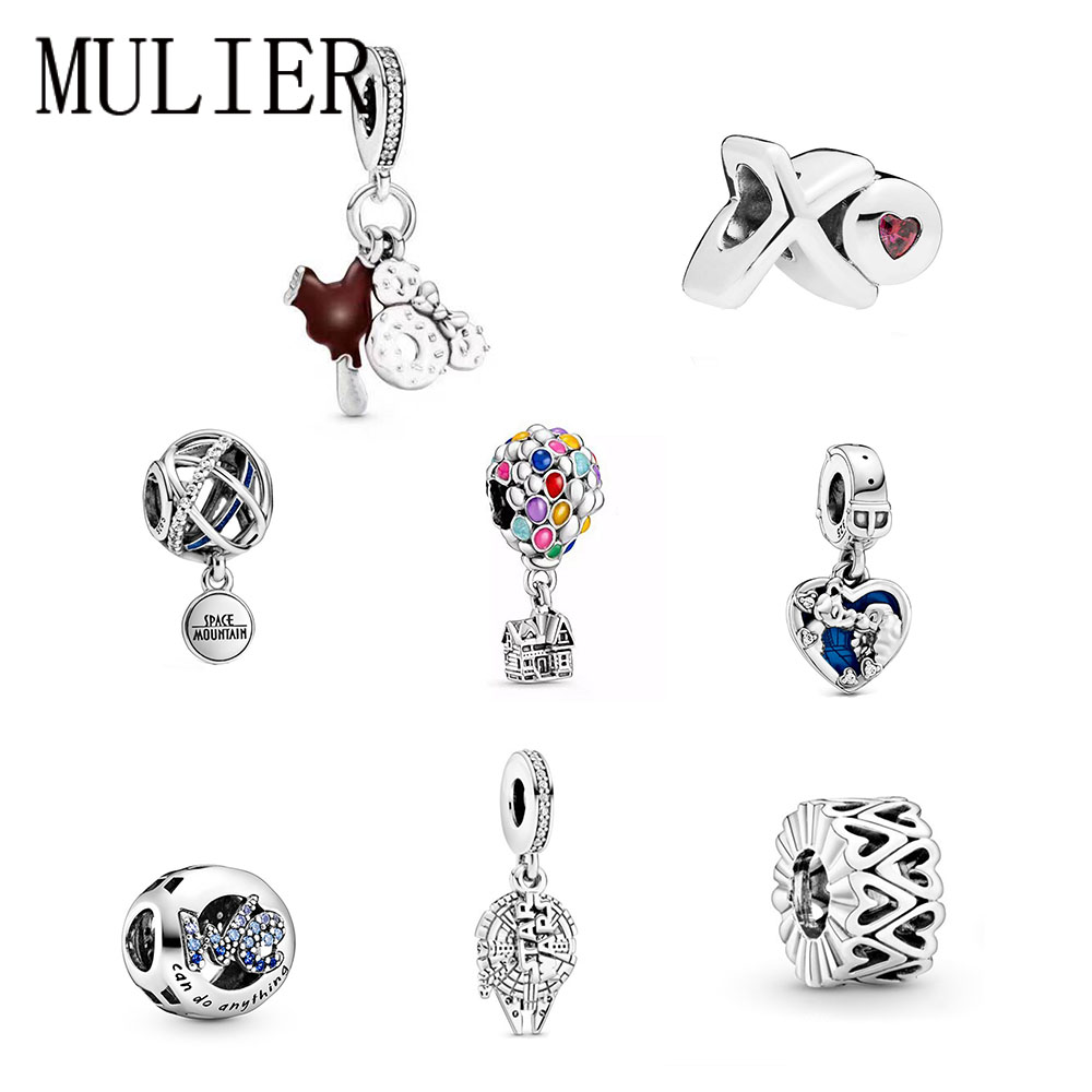 2020  High Quality 925 Sterling Silver XO Love Necklace With Red Zirconia Charm Beads Of Candy Heart Original Women DIY Jewelry