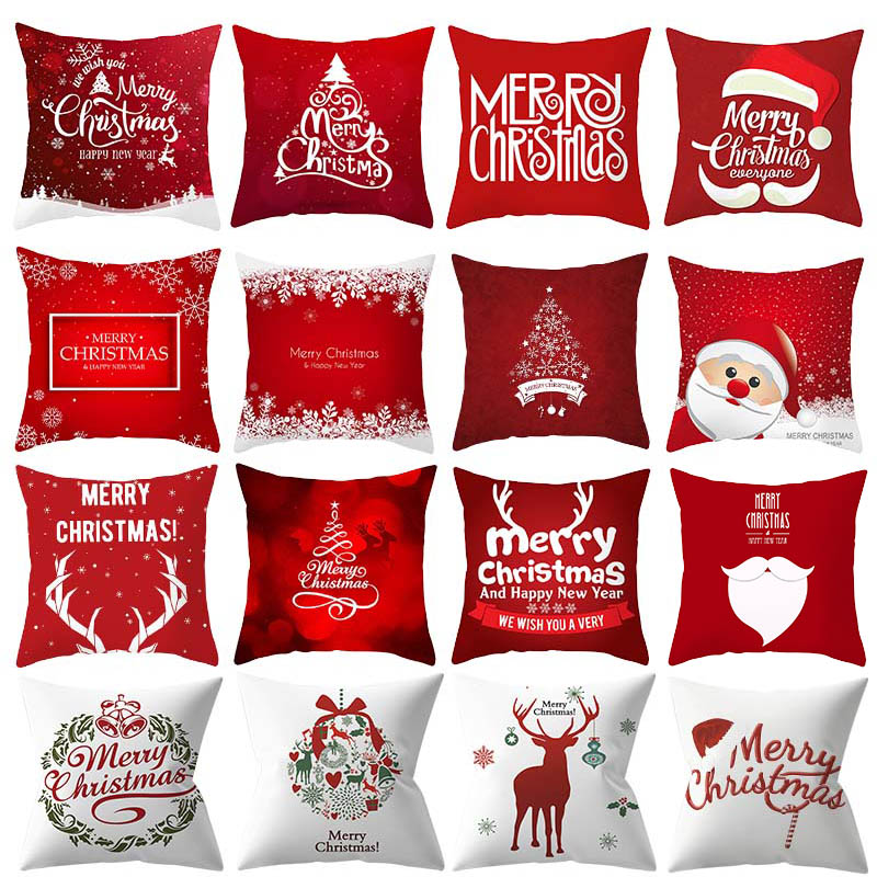 Merry Christmas Decorative Pillowcases Polyester Christmas Cartoon Santa Claus Elk Cotton Pillow Case Cover Pillowcase 45*45cm