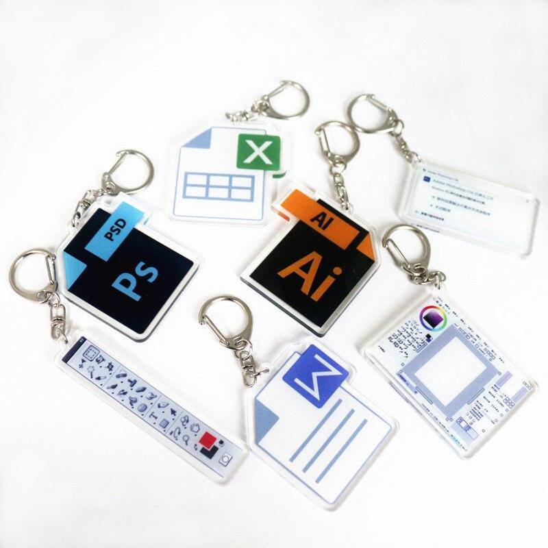 7Styles Cartoon Software Ai Ps Keychain Acrylic Photo Designer Key Chains Schoolbag Decorations Pendant Key Ring Women Bag Charm