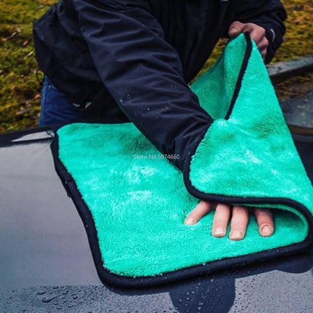 Chiffon de luxe en microfibre Super doux, 50x70cm/38x30 cm/1400g/m2, séchage de la cire de lavage de voiture