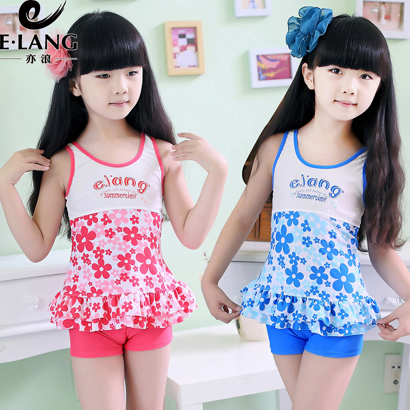 Children Big Kid Children GIRL'S Swimsuit Split Type Boxer KID'S Swimwear Big Kid Split Type 4XL With Chest Pad