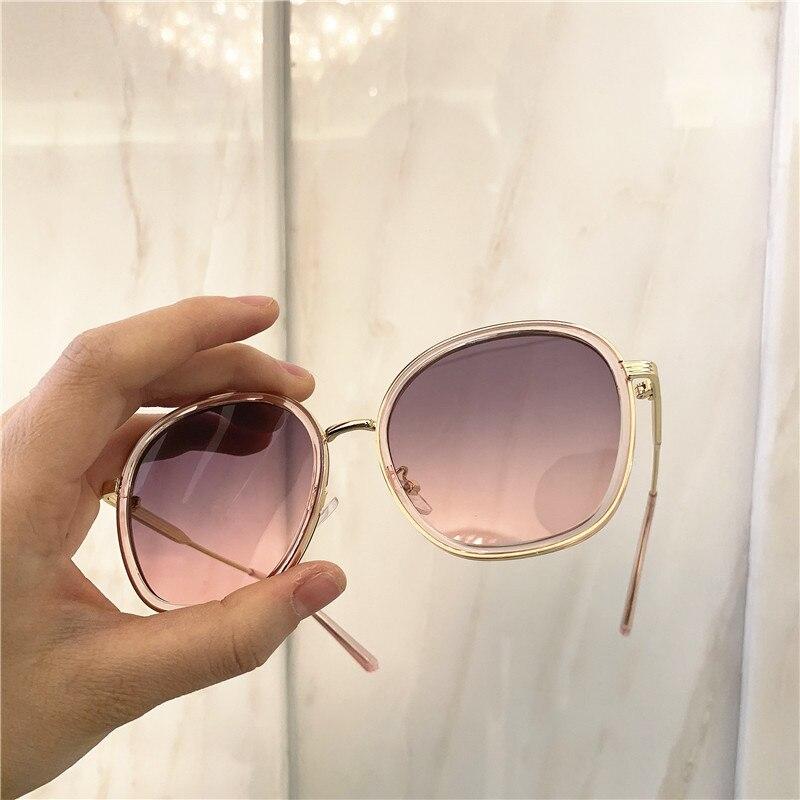 Vintage Luxury Oversize Sunglasses Metal Frame Grandient Shades Sun Glasses 2020 Summer