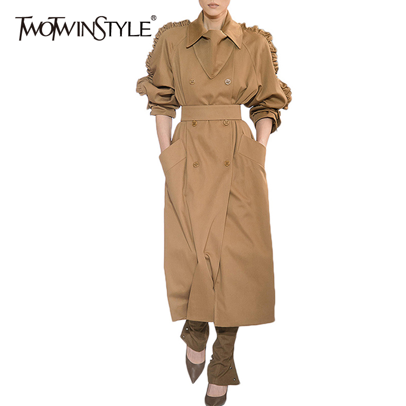 TWOTWINSTYLE Elegant Solid Women's Trench Lapel Collar High Waist Ruffles Patchwork Tunic Long Windbreaker Female 2020 Autumn
