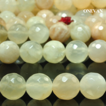 ONEVAN Natural A+ Yellow Moonstone Faceted Round 8mm 10mm Stone Smooth Loose Beads Diy Bracelet Necklace Jewelry Making Design onevan natural yellow jade faceted beads 6mm 8mm smooth loose round stone diy bracelet necklace jewelry making gift design