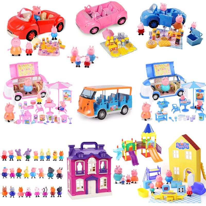 Peppa Pig George Toys Car Wagon Dining Car Action Figure Real Scene Model Amusement Park House Children's Cartoon Toy Xmas Gitf