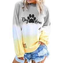 Oversized Sweatshirt Womens Harajuku Dog Mom Print Gradient Long Sleeve O Neck Pullover Hoodies Autumn Streetwear Hole Top Coats