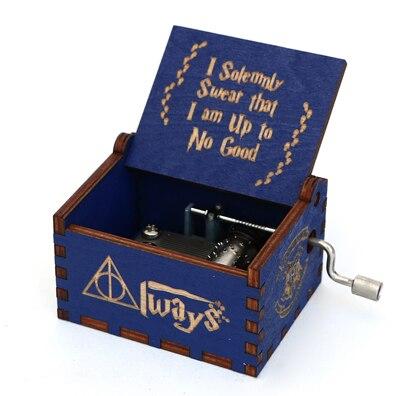 Прямая поставка, черная деревянная музыкальная шкатулка, игра в трон, Caja, музыкальная Zelda, ручная работа, Деревянная Музыкальная Коробка, рождественский подарок - Цвет: GB-HP1-BU