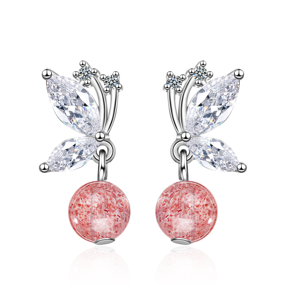 Cute 925 Sterling Silver Butterfly pink Strawberry Crystal Stud Earrings For Women Child Kids Jewellery Orecchini Aros Aretes