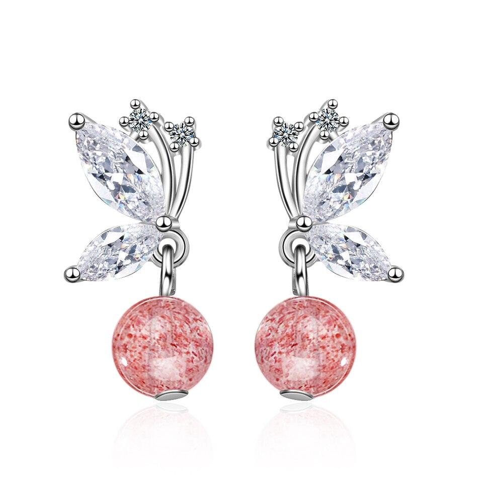 Plata Esterlina Mariposa Rosa De Cristal Pendientes con Pasador-Caja de Regalo Gratis