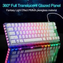 Mekanik oyun klavyesi Womier K66 RGB led aydınlatmalı çalışırken değiştirilebilir Gateron anahtarı ışık geçirgenliği taban PC Laptop için