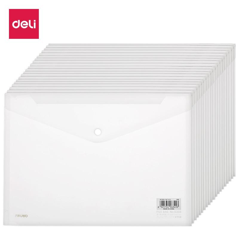 Deli 20pcs Pack A4 Transparent Snap PP Folder Document Bag Organizer Home Office Shcool Supplies Waterproof 27008