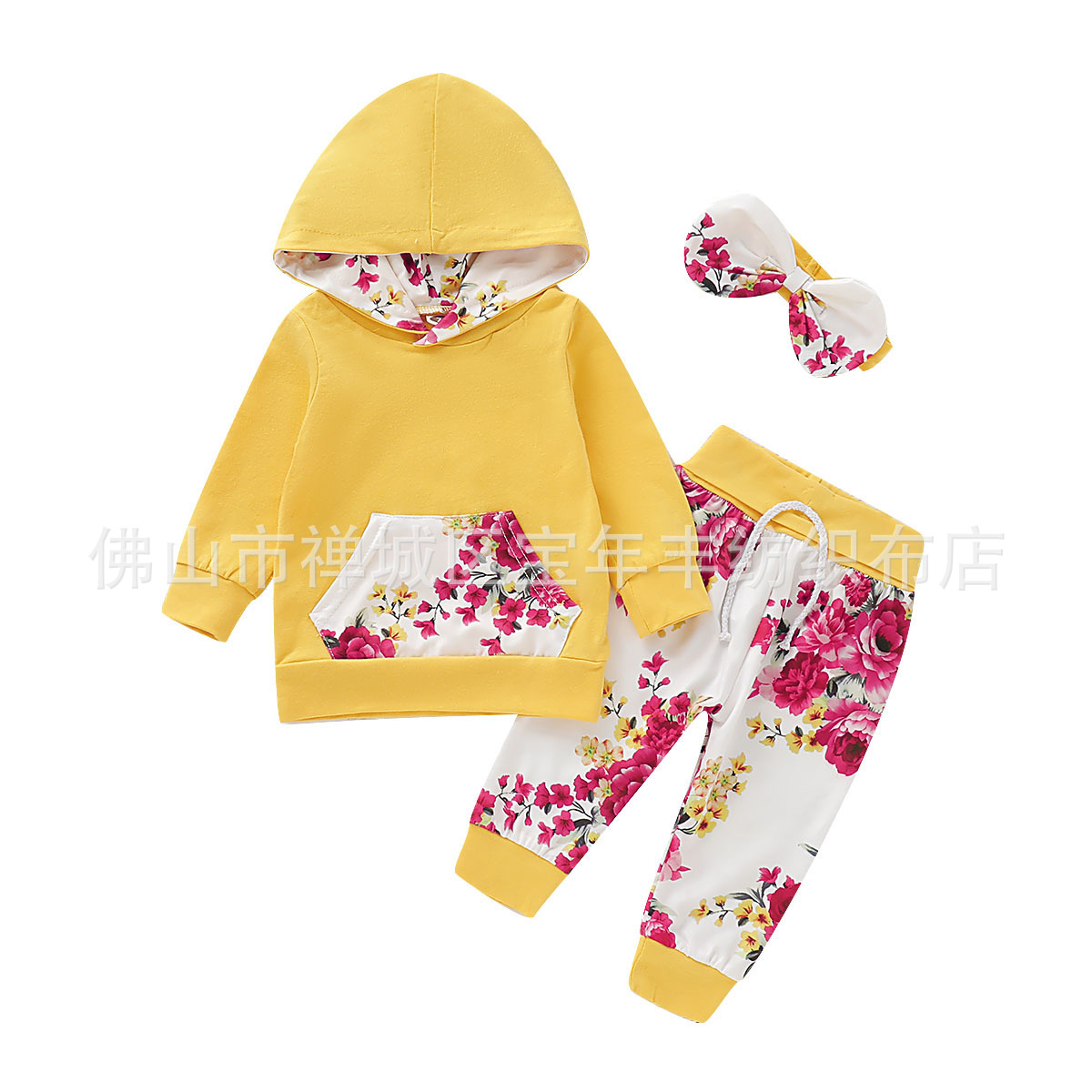 Children's Clothing  Striped Long-Sleeved Casual Printing Hooded  set D09.21 1