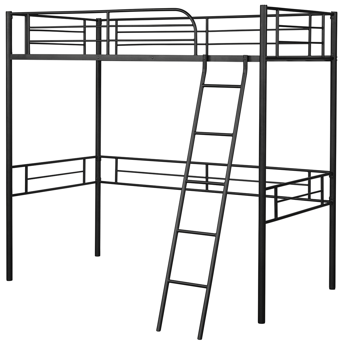 Costway Metal Loft Twin Bed Frame Single Twin Size High Loft Bed W/ Ladder & Guard Rail