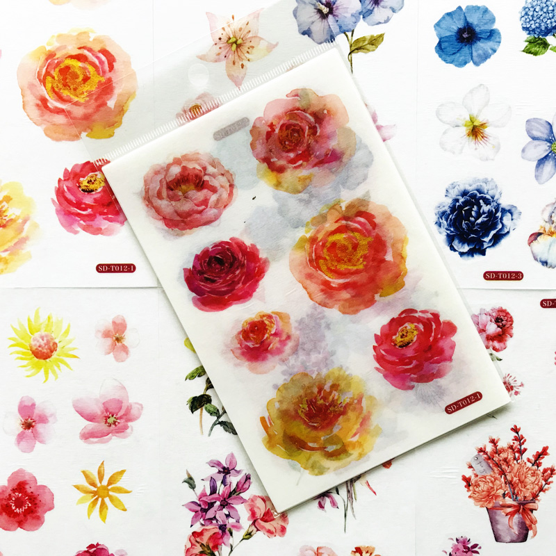 6 Sheets /Pack Cute Flower Sticker Adhesive Craft Stick Label Notebook Computer Phone DIY Decor Kids Gift Stationery