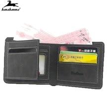 Casual Men's Wallet Money Bag Solid Color Leather Business Short Wallet Famous Vintage Walltes Multi-card Soft Purse Coin Bag