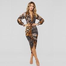 Sexy Summer Women Dress Long Sleeve Deep V Neck Leopard Snake Print Mini