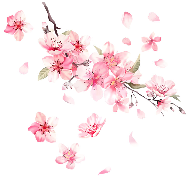 Noizzy Oriental Cherry Blossom Vinyl Love Car Auto Floral Charm Sticker Pink Decal Highlight Window Automobile Romance Decor