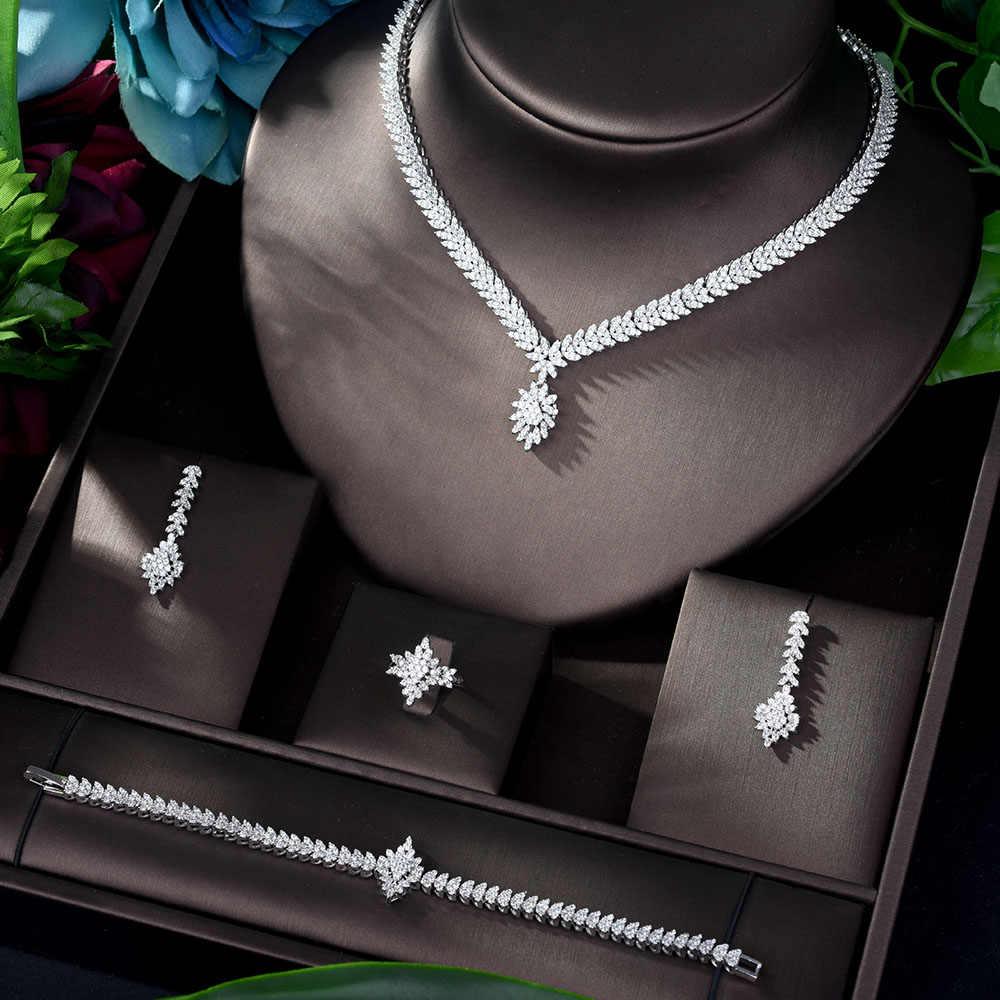 HIBRIDE Neueste Mode Frauen Hochzeit AAA Zirkonia Halskette Ohrring Dubai Schmuck-Set Schmuck Addict Bijoux Femmel N-1169