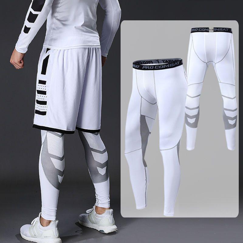 Брюки мужские компрессионные, леггинсы для бега, спорта, фитнеса, быстросохнущие штаны для бега, тренировок, черные белые брюки