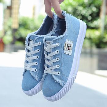 Newly Girl Casual Shoes Fashion Women Sneakers Student Canvas Female Denim