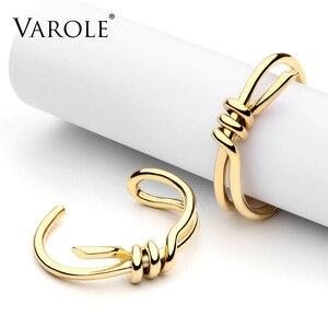 Image 3 - VAROLE Bracelet de manchette avec nœud, élégant, couleur or, bijoux, vente en gros, Bracelets pour femme