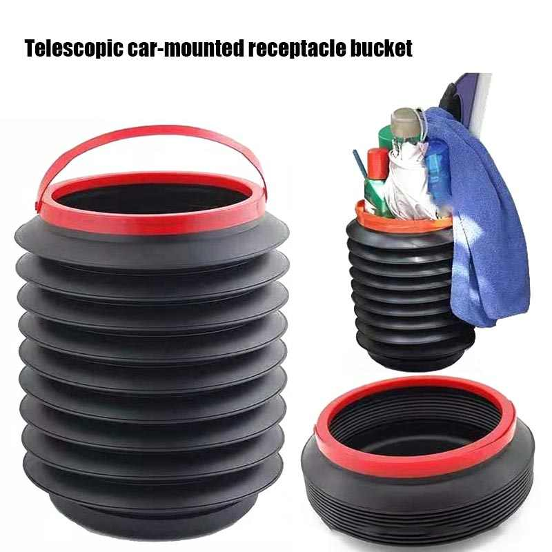 Multifunctional Foldable Fishing Barrel Mini Household Outdoor Retractable Water Bucket Car Portable Collapsible Trash Can Abcty 1.2 Gallon Auto Round Leak-proof Folding Storage Bin 4 Liter