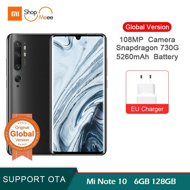 Global Version Xiaomi Mi Note 10 6GB 128GB 108MP Penta Camera Snapdragon 730G Octa-core Mobile Phone 6.47 '' Curved 5260mAh
