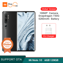 Global Version Xiaomi mi Note 10 6GB 128GB 108MP Penta Camera Snapdragon 730G octa-core mobile phone 6.47 '' curved 5260mAh