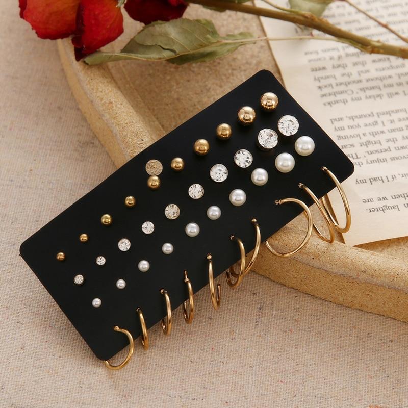 Minimalist Mixed Small Earrings Set Fashion Rhinestone Pearl Geometric Flower Heart Star Stud Earrings For Women Girls Jewelry 3