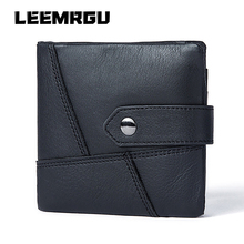 New Leather Men Short Wallet Brand Retro Cowhide Coin Purse Multi-Function Hand Coin Pocket Photo Small Credit Wallet