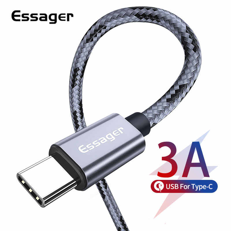 Essager USB Tipe C Kabel 3A Cepat Charge 3 M Usbc Tipe-C Kabel untuk Xiaomi K20 Samsung S10 onePlus 7 Pro Ponsel USB-C Charger