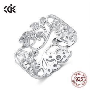 Image 1 - CDE 925 Sterling Silver 5mm Wide Ring Secret Garden Geometric Ring with Cubic Zirconia for Women Wedding Engagement Jewelry