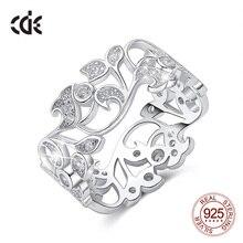 CDE 925 ayar gümüş 5mm geniş halka gizli bahçe geometrik yüzük kübik zirkon ile kadınlar düğün nişan takı