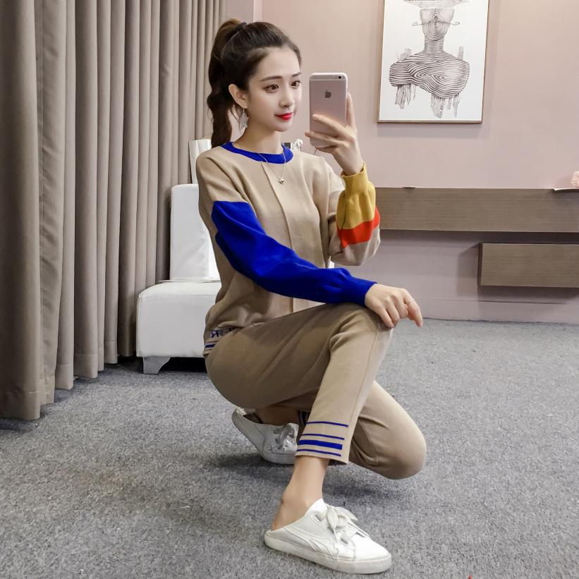 Online Celebrity Celebrity Style WOMEN'S Suit Social Two Pieces Stripes Knitted Pants Two Pieces Set Of Sweater