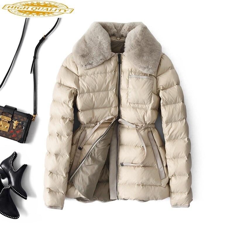 White Duck Down Jacket Women Winter Puffer Down Coat Rabbit Fur Collar Korean Fashion Womens Down Jacekts A28349 KJ3680