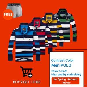 Image 5 - Hollirtiger 2019 outono primavera dos homens camisa polo masculino turn down collar algodão polo camisa masculina manga longa listras bordadas t