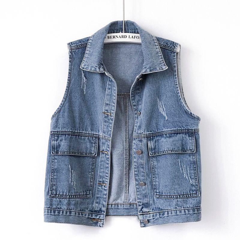 2021Spring Autumn Women New Plus Size Denim Vest Vest Jacket Pocket Loose Korean Waistcoat Cowboy Jacket Wild Waistcoat Tide A19