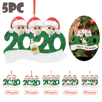 3d Resin 2020 Christmas Ornament Pendant Family Gift Birthdays Party Decoration Santa Claus Ornament Christmas Pendant Doll image