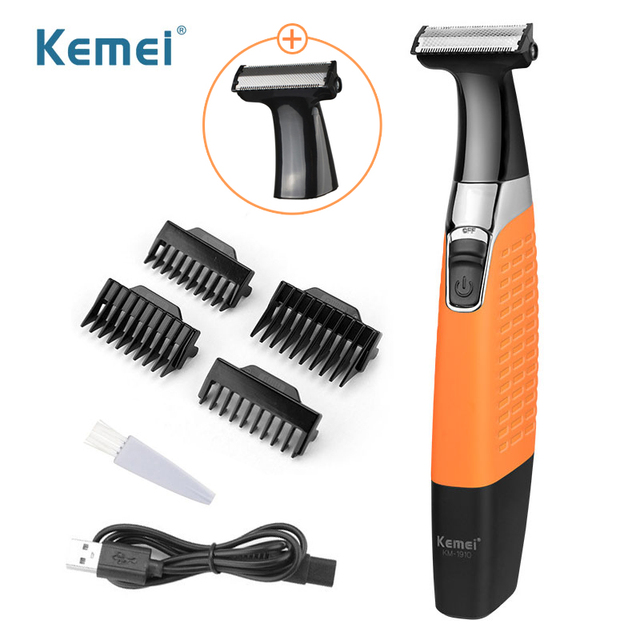 Kemei Electric Razor Rechargeable Beard Trimmer for Men with Extra Blade Washable Shaving Machine 100 240V KM 1910 38