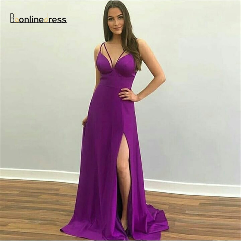 Charming Purple Prom Dresses Satin A-Line Party Gowns Spaghetti Strap High-Split Long Prom Dresses Formal Gowns Vestidos