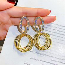 FYUAN Multiple Circles Drop Earrings for Women 2019 New Gold Silver Color Oval Rhinestone Dangle Fashion Jewelry Gifts