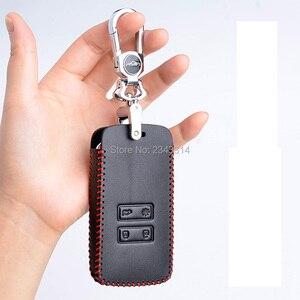 Image 4 - Para renault dacia duster 2020 botões chaves inteligentes couro genuíno carro de controle remoto chaveiro capa caso acessórios