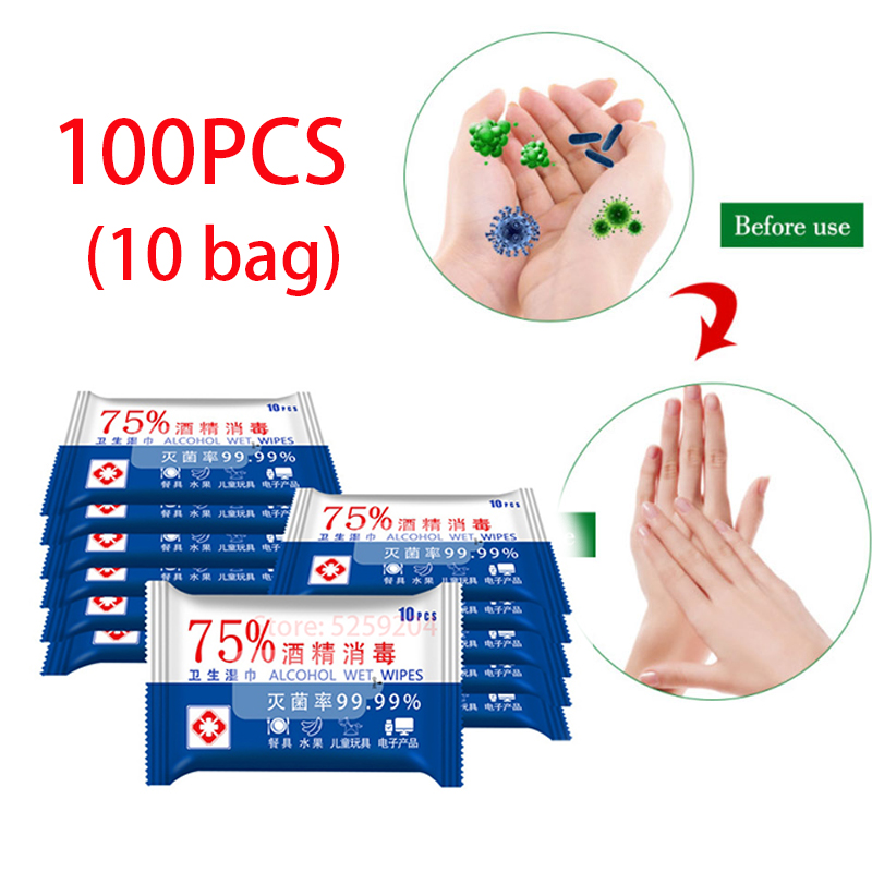 100pcs Household 75% Alcohol Wipes Antiseptic Cleaning Sterilization Non-woven Wet Wipes Sanitizer Disinfecting Hand Wash Gel