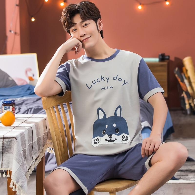 Plus Size 3XL 4XL 5XL 95kg Nightwear Short Sleeve Summer Cute Cotton Pajamas Sets Print Sleepwear Short Pant Male Men Pajama Set