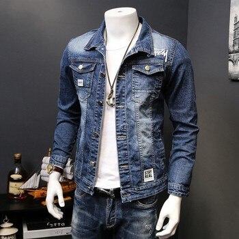 Korean Slim Fit Jeans Jacket For Men Washed Denim Fashion Motor Biker Long Sleeve Outwear Coat Plus Size S-4XL Jaqueta Hombre