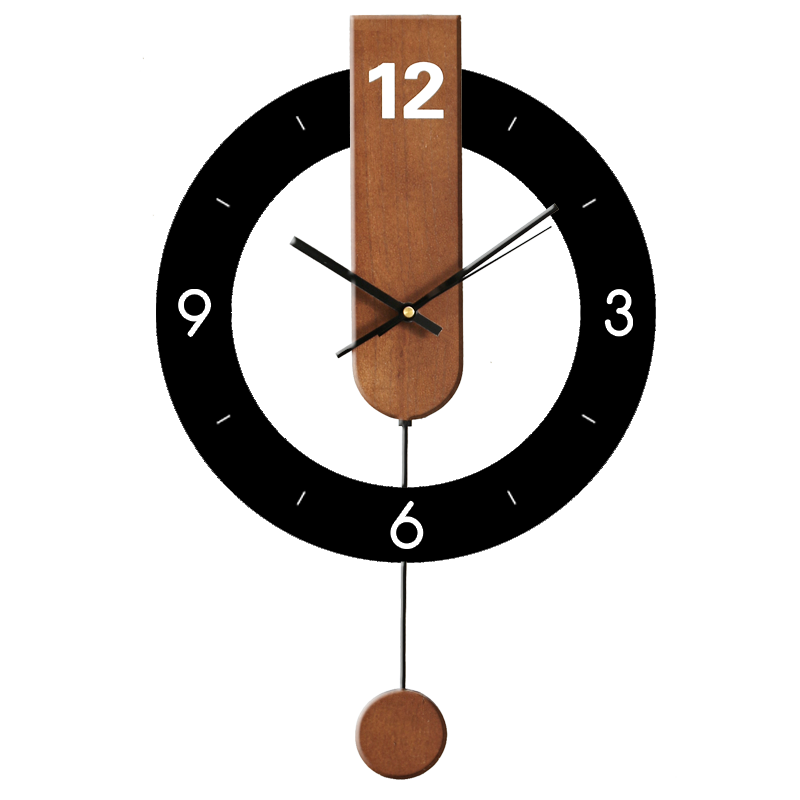 Big Wooden Pendulum Wall Clock Bedroom Large Retro Modern Wall Clocks Thick Watches Wall Home Decor Living Room Watch II50BGZ