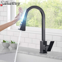Kitchen Faucet Mixer Pull-Out-Sensor Touch-Control Matte Black Sensitive Cold Hot Tap-Booster