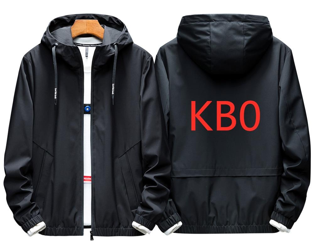 KB0 2019 For Men's Big Hoodies Solid Color Tracksuit Spring Cord Letter Hooded Sweatshirt Long Sleeve Zip Slim Coat Jacket Male